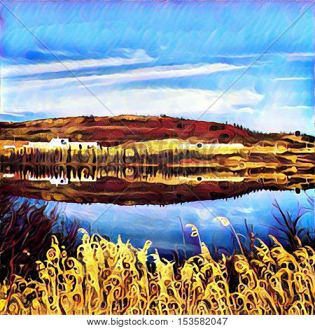 Watercolor painting - Beautiful lake with grass and water