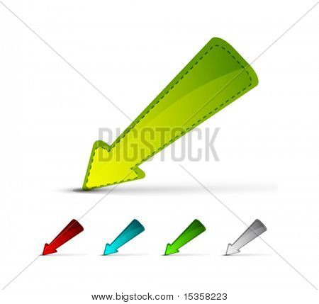 Color glass arrow icons. Easy changeable colors