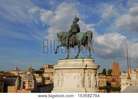 Bronze equestrian statue of Vittorio Emanuele King of Italy from Vittoriano monumental altar in the historic center of Rome