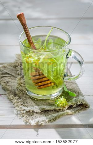 Aromatic Linden Tea With Honey In Sunny Day