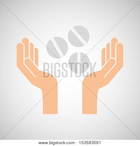 hands pill medicine care icon vector illustration eps 10