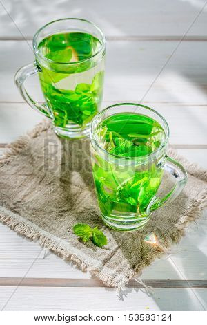 Healing Mint Tea With Honey In Summer Day