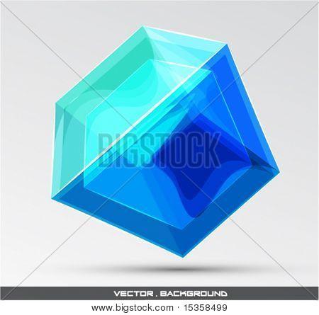 Glass cube design element. Eps10 icon