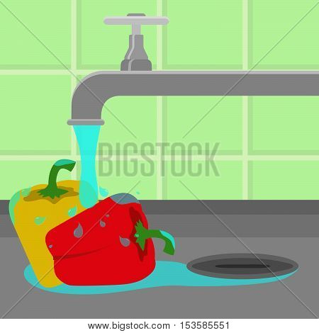 Tap Washing Bell Peppers