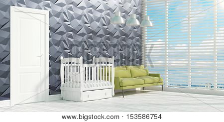 Beautiful modern interior with sofa and cot. 3D rendering
