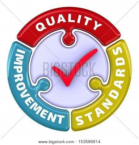 Quality improvement standards. The check mark in the form of a puzzle. The inscription
