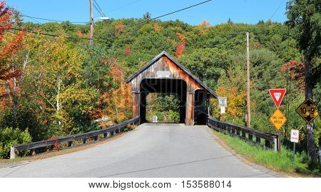 Squam river covered bridge in New Hampshire