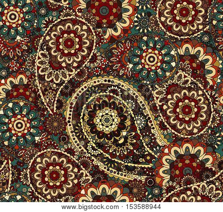 Traditional paisley pattern silk headscarf sample. Eastern cloth presents and gifts concept