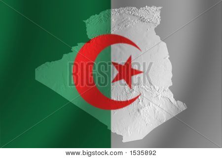 Algerian Flag With Topography