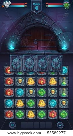 Monster battle GUI closed door playing field match 3 - cartoon stylized vector illustration mobile format window with options buttons game items.