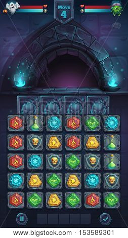 Monster battle GUI opened door playing field match 3 - cartoon stylized vector illustration mobile format window with options buttons game items.