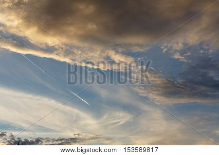 Cumulus clouds against a blue sky. Mostly Cloudy. Anticyclone. Weather forecast.