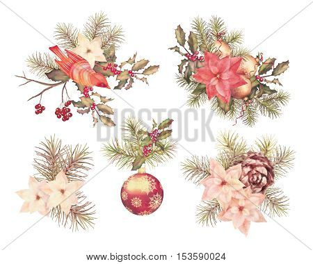Christmas retro watercolor decorative composition set with bird poinsettia flowers decorations fir tree and Holly branch on a white background