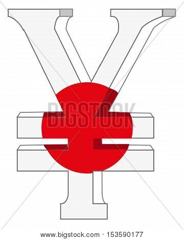 Symbol of the money to japan.Vector illustration