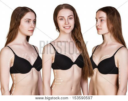 Set of woman body with correction arrows from all angles, over white background. Plastic surgery concept