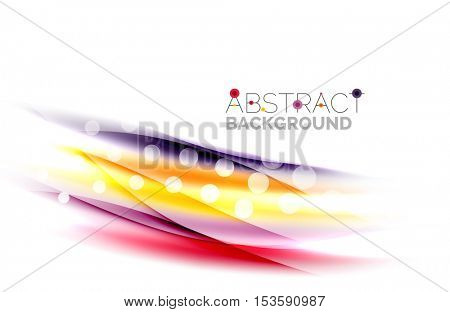Shiny bright color lines with light effects and circles, wave abstract background