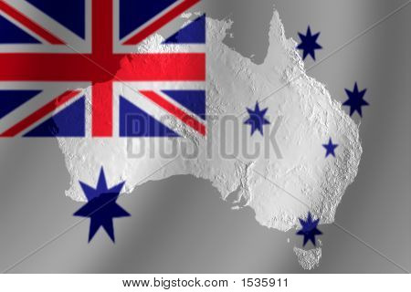 Australian Flag With Topography