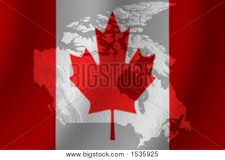 Canadian Flag With Topography