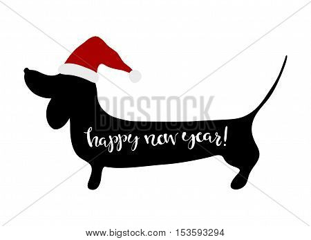 Happy New Year greeting card dachshund. Hand written lettering Happy New Year.
