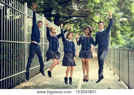 Jumping Enjoyment Friend Diverse Uniform Concept