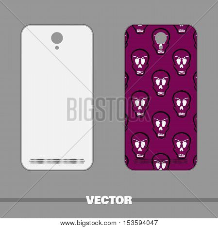 Violet phone cover with hand drawn skulls. Vector illustration.