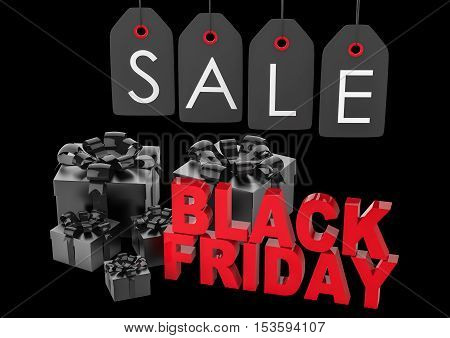 Black Friday sign with gift boxes and sale labele. 3d illustration.