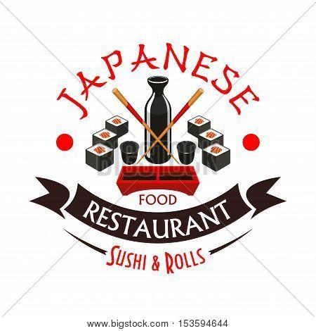 Japanese sushi and rolls restaurant emblem. Vector icon with sushi, rolls, soy sauce bottle, chopsticks ribbon, text. Japanese cuisine restaurant label design element