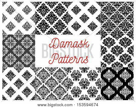 Stylized floral damask seamless patterns. Vector decoration tiles with graphic flowery pattern. Elegant luxury baroque ornament backgrounds for design