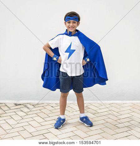 Superhero Boy Imagination Freedom Happiness Concept
