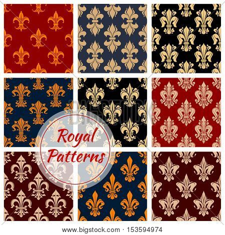 Floral royal ornament and damask seamless patterns for decoration. Imperial luxury flowery ornaments and classic vintage fleur-de-lis flourish interior design elements