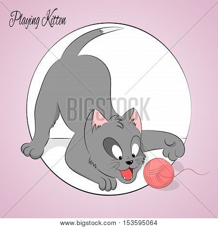 Happy cute playing kitten with ball. Simple cartoon style. Vector illustration