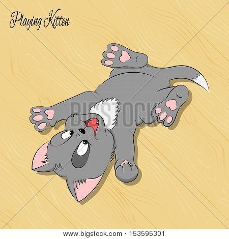 Happy cute playing kitten on the wood floor. Simple cartoon style. Vector illustration