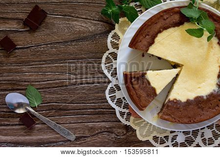 Cake With Cream Cheese And Chocolate Cheesecake. View From Above.