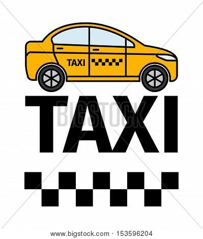 Taxicab transport, advertising poster. Yellow car and text vector illustration