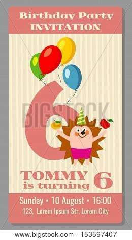 Kids birthday party invitation card with funny hedgehog. Vector illustration