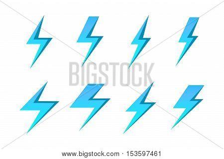 Set of blue lightnings isolated over white background. Vector illustration