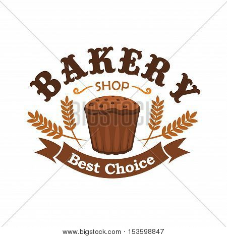 Fresh baked rye bread icon for bakery shop emblem. Best choice of tasty bread loaf element with brown ribbon and text for bakery design template