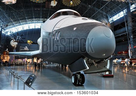 VIRGINIA, USA - AUG. 12, 2010: Space Shuttle Enterprise, at the National Air and Space Museum Steven F. Udvar-Hazy Center, James S. McDonnell Space Hangar, in Chantilly, Virginia, USA.