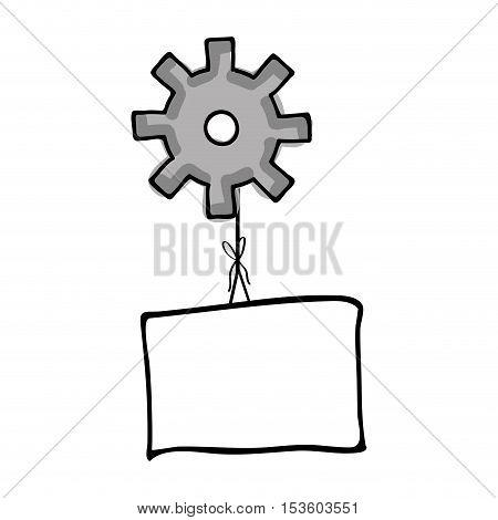 gear holding blank paper cartoon icon image vector illustration design
