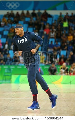 RIO DE JANEIRO, BRAZIL - AUGUST 10, 2016: Carmelo Anthony of team United States warms up for group A basketball match between Team USA and Australia of the Rio 2016 Olympic Games at Carioca Arena 1