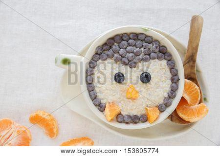 Penguin Porridge Oatmeal Breakfast , Fun Christmas Food Art For Kids