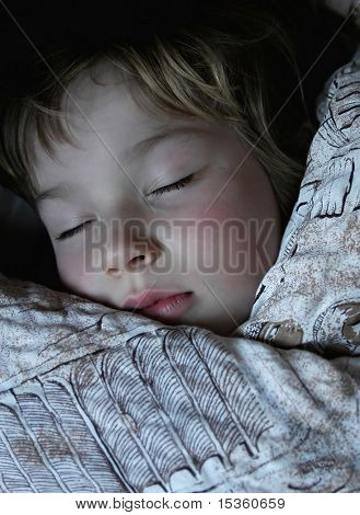 Boy sweetly dreaming in his bed