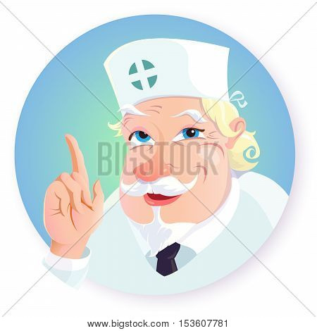 Vector illustration of funny cartoon character - doctor. The old doctor in a white uniform with a kind smiling facial expression with a beard and mustache raised his hand up with a pointing gesture