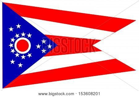 The flag of the USA state of Ohio over a white background