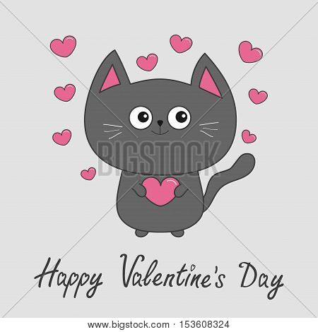 Happy Valentines Day. Gray contour cat holding pink heart set. Cute cartoon character. Kawaii animal Pet collection. Greeting card. Flat design. White background. Vector illustration