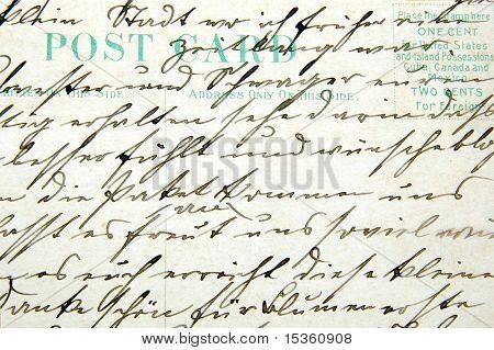 Vintage handwriting on a postcard