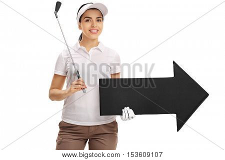 Female golf player holding a golf club and an arrow pointing right isolated on white background