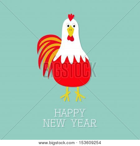 Red Rooster Cock bird. 2017 Happy New Year symbol Chinese calendar. Cute cartoon funny character with big feather tail. Baby farm animal. Blue background. Flat design. Vector illustration