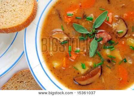 Close up of potato soup with bread