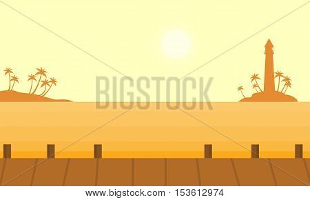 Silhouette of island and lighthouse vector illustration